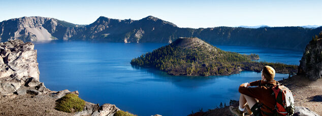 Biking through the Pacific Northwest of the USA. Crater Lake.